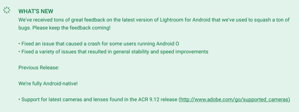 Lightroom Mobile 3.01 released